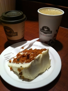 Coffee and carrot cake!